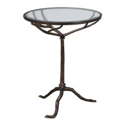 Uttermost - Sadira Cast Iron Accent Table - Heavy, cast iron occasional table in weathered bronze finish with clear, tempered glass top.