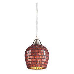 Elk Lighting - Elk Lighting 528-1CPR 1 Light Pendant in Satin Nickel & Copper Mosaic Glass - 1 Light Pendant in Satin Nickel & Copper Mosaic Glass belongs to Fusion Collection by Elk Lighting Individuality Is What Defines This Exquisite Line Of Hand Blown Glass. Each Piece Is Meticulously Hand Blown With Up To Three Layers Of Uncompromising Beauty And Style.  Pendant (1)