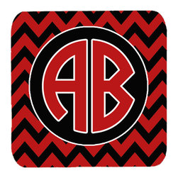 Caroline's Treasures - Chevron for Arkansas Personalized 2 Initial Coasters, Set of 4 - Foam Coaster - 3 1/2 inches by 3 1/2 inches. Permanently dyed and fade resistant. Great to keep water from your beverage off your table and add a bit of flair to a gatering.  Match with one of the insulated coolers or huggers for a nice gift pack.  Wash the coaster in the top of your dishwasher.  Design will not come off.  Made from our mouse pad material and is heat resistant.