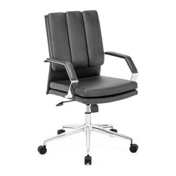ZUO MODERN - Director Pro Office Chair Black - This chair has a leatherette wrapped seat and back cushions with chrome solid steel arms with leatherette pads. There is a height and tilt adjustment with a chrome steel rolling base.