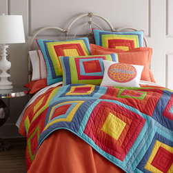 "Pine Cone Hill - Pine Cone Hill Standard Herringbone Matelasse Sham - Square off against boring with the brightest of bed linens! All are machine washable. Multicolored ""Box in Box"" quilted linens and orange herringbone matelasse linens are imported by Pine Cone Hill®. Pink and white cotton pillow may be personali..."