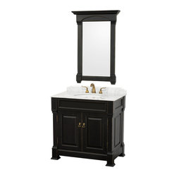 Wyndham - Andover 36in. Bathroom Vanity Set - Antique Black - A new edition to the Wyndham Collection, the beautiful Andover bathroom vanity series represents an updated take on traditional styling. The Andover is a keystone piece, with strong, classic lines and an attention to detail.