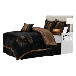 Camden Bedding Set - King - Revitalize your bedroom decor with this beautiful set that features a black and brown color palate with diamond patterns. The set includes a high-quality Microfiber comforter, Bed Skirt, and three throw pillows.