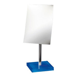 Gedy - Square Magnifying Mirror with Blue Base - Decorative pedestal magnifying mirror with blue thermoplastic base.