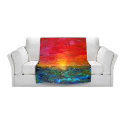 DiaNoche Designs - Throw Blanket Fleece - Jackie Phillips Rainbow Sunset - Original Artwork printed to an ultra soft fleece Blanket for a unique look and feel of your living room couch or bedroom space.  DiaNoche Designs uses images from artists all over the world to create Illuminated art, Canvas Art, Sheets, Pillows, Duvets, Blankets and many other items that you can print to.  Every purchase supports an artist!