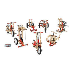 Berg USA - Berg USA Moov Advanced Kit Pedal Riding Toy - 21.03.00.00 - Shop for Model Kits from Hayneedle.com! Why should Dad have all the fun putting their toys together when they can get in on the act with the Berg USA MOOV Advanced Kit Riding Toy? This versatile kit uses a unique system that incorporates laminated plywood grooved metal poles air-filled rubber tires and rubber rings to make seven different toys without the aid of tools bolts screws or nails. Once they've gained proficiency in building the machines designed and planned out in the manual the fun continues as they explore their creative energies by designing their own unique configurations. The tires are perfect for outdoor use and the laminated plywood is sealed to prevent weathering during outside use. This kit is recommended for children ages 5 and up. Toy designs include: Helicopter Scooter Dino-bird Bike Snow Scooter Crane Chopper About Berg USAFounded in 2010 Berg USA is quickly becoming a recognized name in children's riding toys with their innovative designs and attention to safety that don't get in the way of their dedication to providing outdoor exercise for both kids and adults. Berg USA designs and offers a wide variety of high-quality pedal go-karts for home or commercial use ranging in size to comfortably accommodate ages 2 through adult as well as their versatile line of MOOV construction kits. Please note this product does not ship to Pennsylvania.