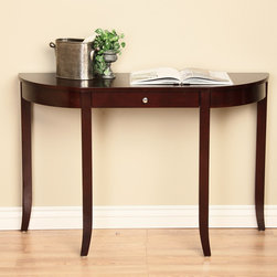 None - One-drawer Console Table - Store keys or other small items in this wooden console table that doubles as chic decorative furniture. Richly finished in cherry walnut,this elegant table features one convenient storage drawer,slim tapered legs,and silver-toned accents.