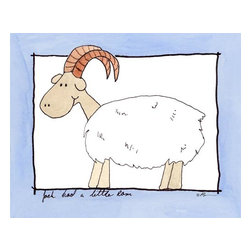 Oh How Cute Kids by Serena Bowman - Little Ram, Ready To Hang Canvas Kid's Wall Decor, 11 X 14 - Every kid is unique and special in their own way so why shouldn't their wall decor be so as well! With our extensive selection of canvas wall art for kids, from princesses to spaceships and cowboys to travel girls, we'll help you find that perfect piece for your special one.  Or fill the entire room with our imaginative art, every canvas is part of a coordinating series, an easy way to provide a complete and unified look for any room.