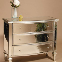 Bassett Mirror - 3 Drawer Mirrored Chest in Silver Trim - 43 in. L x 20 in. W x 34 in. H (108 lbs.)