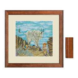 "Maxey Mountain Goat, 19""w X 17""h with A 1 3/16"" Pecan Frame and 2.5"" Linen Look - Maxey Mountain Goat has a luxurious coat and leaps along rocky ledges. Archival quality prints include, a print on canvas, 26""w x 24""h with a 1.5"" gallery wrap. A print on canvas, 34""w x 32""h with a 1.5"" gallery wrap. A 19""w x 17""h print on watercolor paper with a 1 3/16"" pecan frame and a 2.5"" linen look mat."