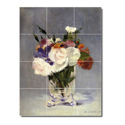 Picture-Tiles, LLC - Flowers In A Crystal Vase 1882 Tile Mural By Edouard Manet - * MURAL SIZE: 48x36 inch tile mural using (12) 12x12 ceramic tiles-satin finish.
