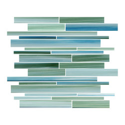 Rocky Point Tile - Rip Curl Linear Glass Mosaic Tiles - This Caribbean hand painted color combination of greens and blues brings a warm inviting feeling to a kitchen backsplash or bathroom. The colors work very well with white cabinetry or larger tiles. This tile can also be used an accent strip in your new shower or tub surround. The pattern repeats every 6 inches for more options! Looks great with white glass subway tiles.