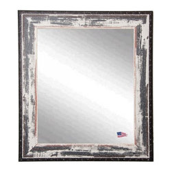 Rayne Mirrors - USA Made Rustic Ivory & Black Rivet Trim Wall Mirror - This heavily distressed wall mirror will enhance any room's decor. This beautiful wall mirror features a rustic white wash finish and dark rivet trim that will compliment any decor.  Rayne's American Made standard of quality includes; metal reinforced frame corner  support, both vertical and horizontal hanging hardware installed and a manufacturers warranty.