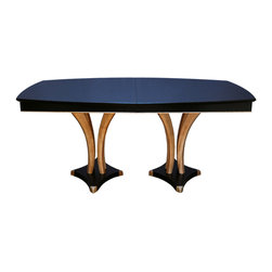 "Contemporary Art DP Dining Table - Shown in Solid Ebonized African Sapele wood and Tiger Maple. Solid steam bent Sapele skirts.Size shown is 45"" x 68"", available with one 16"" leaf opening to 84"" or two leaves opening to 100"" or custom sizes. Other woods available."