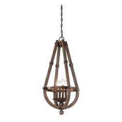 Savoy House - Savoy House Berwick Foyer Pendant Light Fixture in Dark Wood with Guilded Bronze - Shown in picture: Berwick 4 Light Entry in Dark Wood and Guilded Bronze Finish