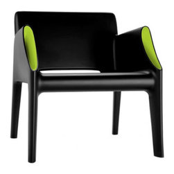 Kartell - Kartell Magic Hole Armchair - Kartell's new outdoor products manufactured using the rotational molding technique: the Magic Hole series consists of a two-seater sofa and an armchair with an uncluttered snappy silhouette and slim closed section legs. The straight linear surfaces terminate in well-rounded curves. The austerity of the lines is broken and enhanced by the originality of the stylistic details: a flared white, grey or black ton-sur-ton pocket, or contrasting fluorescent colors of orange or green on the interior hollow curve of the arms. Comfortable, light, shock resistant and weatherproof, the Magic Hole sofa and armchair are perfect for outdoor use - ideal in the garden, on the terrace, the veranda, poolside or for outdoor use in public places. Manufactured by Kartell.