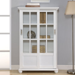 Altra - Altra White Sliding Glass Doors Bookcase - This classic white bookcase with sliding glass doors features beautiful craftsmanship along with ample storage and display space. Versatile enough to work with a range of decors, this stately bookcase will help keep any environment free of clutter.