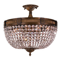 Worldwide Lighting - Winchester 6 Light Antique Bronze Finish Crystal Large Flush Mount Ceiling Light - This stunning 6-light Flush-mount only uses the best quality material and workmanship ensuring a beautiful heirloom quality piece. Featuring a solid cast aluminum base in antique bronze finish and all over clear crystal embellishments made of finely cut premium grade 30% full lead crystal, this flush mount will give any room sparkle and glamour. Worldwide Lighting Corporation is a premier designer manufacturer and direct importer of fine quality chandeliers, surface mounts, and sconces for your home at a reasonable price. You will find unmatched quality and artistry in every luminaire we manufacture.