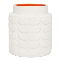 "Orla Kiely - Orla Kiely Raised Stem Low/Wide Vase - Orange - Ceramic low vase featuring Orla Kiely's Raised Stem design. 100% earthenware. Dishwasher safe. Made in Portugal. Measures: 5.3""d x 6.1""h"