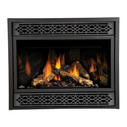 "Napoleon - Napoleon Direct Vent Fireplace with Black Door - BGD42N-D - Shop for Fire Places Wood Stoves and Hardware from Hayneedle.com! The Napoleon Direct Vent Fireplace with Black Door offers an impressive 42-inch viewing area with Mirro-Flame Porcelain panels that echo the popular Yellow Dancing Flame display. The fireplace also features Napoleon's exclusive Phazer log set with glowing charcoal ember bed and 100% Safe Guard gas control system that automatically shuts off the gas when necessary. Capable of up to 28 500 BTUs this fireplace provides more than enough heat for your space and provides 50% flame/heat adjustment for maximum comfort and efficiency. A licensed contractor should be contacted for installation of all products involving gas lines. We recommend you use a professional installer to ensure the safety of the exhaust system. About NapoleonNapoleon got its start in 1976 as a steel fabrication business launched by Wolfgang Schroeter in Barrie Ontario Canada. His original stove was a solid cast iron two-door design that was produced in a 100 sq. ft. manufacturing facility. By 1981 the name ""Napoleon"" was born along with the first single glass door with Pyroceram high temperature ceramic glass in the industry. This glass door was the first of many milestones for the company and the demand for Napoleon's wood stoves grew over the next few years beyond Ontario's borders to the rest of Canada and into the United States. Over the years Napoleon has led the way with innovative engineering and design. They are now North America s largest privately owned manufacturer of quality wood and gas fireplaces gourmet gas and charcoal grills outdoor living products and heating and cooling products. Napolean is committed to producing high quality products with honest reliable service. This approach has proven to be a successful framework to ensuring the continued rapid growth of the company."
