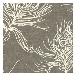 Dark Gray Feather Print Cotton Fabric - Modern print with giant white feathers flating across a heathered charcoal cotton ground.Recover your chair. Upholster a wall. Create a framed piece of art. Sew your own home accent. Whatever your decorating project, Loom's gorgeous, designer fabrics by the yard are up to the challenge!