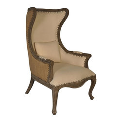 """Noir - Noir - Julian Relax Chair - Mahogany carved wood wing chair with Weathered finish. Twill Cotton upholstered inside with Burlap exterior.  Antique nail head trim. Arm Height 27"""""""