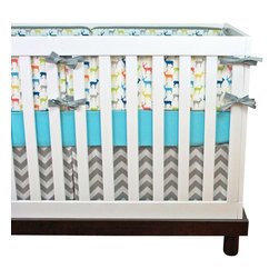 Modified Tot - Baby Bedding Crib Set, Oh Deer - A rainbow of deer await your little one! Featuring aqua, deep blue, orange, lime, mustard and coral.