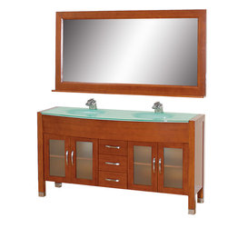 """Wyndham - Daytona 63"""" Double Bathroom Vanity Set - Cherry/Green Glass - The Daytona 63"""" Double Bathroom Vanity Set - a modern classic with elegant, contemporary lines. This beautiful centerpiece, made in solid, eco-friendly zero emissions wood, comes complete with mirror and choice of counter for any decor. From fully extending drawer glides and soft-close doors to the 3/4"""" glass or marble counter, quality comes first, like all Wyndham Collection products. Doors are made with fully framed glass inserts, and back paneling is standard. Available in gorgeous contemporary Cherry or rich, warm Espresso (a true Espresso that's not almost black to cover inferior wood imperfections). Transform your bathroom into a talking point with this Wyndham Collection original design, only available in limited numbers. All counters are pre-drilled for single-hole faucets, but stone counters may have additional holes drilled on-site.;Features: Constructed of environmentally friendly, zero emissions solid Oak hardwood, engineered to prevent warping and last a lifetime;12-stage wood preparation, sanding, painting and finishing process;Minimal assembly required;Highly water-resistant low V.O.C. sealed finish;Available pre-drilled for single-hole ;Unique and striking contemporary design;Practical Floor-Standing Design;Deep doweled drawers;Fully extending side-mount drawer slides;Soft-close concealed door hinges;Single-hole faucet mount ;Metal hardware with brushed chrome finish;Plenty of storage space;Brushed steel leg accents;Plenty of counter space;Includes drain and P-traps for easy assembly;Includes matching mirror;4 doors, 3 drawers;Weight: 360 lbs.;Dimensions: Vanity - 63x 22x 33-1/2;Mirror - 63x 5 x 32"""