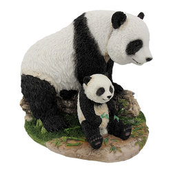 Zeckos - Mother and Child Panda Bear Statue Baby Animal - This beautiful cold cast resin statue of a panda bear mother and baby is quite lifelike. The statue measures 6 3/4 inches tall, 7 3/4 inches long and 5 3/4 inches wide. It is hand-painted, and very detailed. It's a must have for panda lovers and makes a great gift for new Moms.