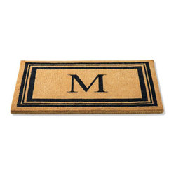 """Grandin Road - Monogrammed Coco Border Door Mat - A, 18"""" x 30"""" - Grandin Road - Crafted from 100% natural coir. Traps dirt and debris to keep your home clean. Select a single-letter monogram or enjoy the distinguished border alone. Personalized items are nonreturnable. Like all of our mats, our Monogrammed Coco Door Mat is as durable as it is beautiful. Crafted from a full 1-1/2"""" of 100% coir, an all-natural material known for its scrubbing power and resistance to the elements. Dyes saturate the fibers for vibrant color. Specify your single-letter monogram for the perfect finishing touch, or enjoy the classic border motif alone. . . . . Imported."""