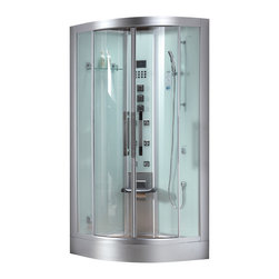 "Ariel Platinum - Ariel Platinum DZ963F8-W Steam Shower - Enjoy the pleasures of the Ariel Platinum DZ963F8-W steam shower in your home. These units are fully loaded with a steam shower enclosure, a built-in steam generator, and a FM radio which are all designed to greatly increase your therapeutic experience. We are confident that you will indulge in a state of complete relaxation and tranquility with all of these features within these steam bath enclosures. Look below for the features and detailed specifications of this steam shower. DZ963F8    Dimensions: 39.4"" x 39.4"" x 89""  ETL listed (US & Canada electrical safety) 220v  Steam Sauna (6KW Generator)   Cleaning Function  Acupuncture Massage  Rainfall Ceiling Shower  Handheld Showerhead  6 Body Massage Jets  Chromatherapy Lighting  Computer Control Panel With Timer  FM Radio  Folding Seat  Wooden Floorboard  Aromatherapy System (Oils not Included)  Ventilation Fan  Drain with ..."