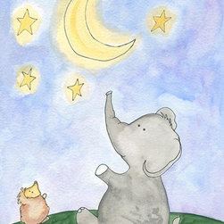 Oh How Cute Kids by Serena Bowman - Star Catcher - Elephant, Ready To Hang Canvas Kid's Wall Decor, 24 X 30 - Each kid is unique in his/her own way, so why shouldn't their wall decor be as well! With our extensive selection of canvas wall art for kids, from princesses to spaceships, from cowboys to traveling girls, we'll help you find that perfect piece for your special one.  Or you can fill the entire room with our imaginative art; every canvas is part of a coordinated series, an easy way to provide a complete and unified look for any room.