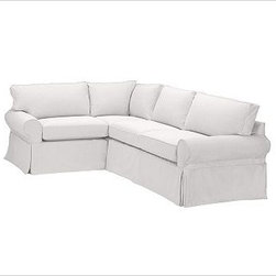 """PB Basic Right 3-Piece Small Sectional Slipcover, Textured Basketweave Ivory - Designed exclusively for our PB Basic Sectional, these easy-care slipcovers have a casual drape, retain their smooth fit, and remove easily for cleaning. Select """"Living Room"""" in our {{link path='http://potterybarn.icovia.com/icovia.aspx' class='popup' width='900' height='700'}}Room Planner{{/link}} to select a configuration that's ideal for your space. This item can also be customized with your choice of over {{link path='pages/popups/fab_leather_popup.html' class='popup' width='720' height='800'}}80 custom fabrics and colors{{/link}}. For details and pricing on custom fabrics, please call us at 1.800.840.3658 or click Live Help. All slipcover fabrics are hand selected for softness, quality and durability. {{link path='pages/popups/sectionalsheet.html' class='popup' width='720' height='800'}}Left-arm or right-arm configuration{{/link}} is determined by the location of the arm on the love seat as you face the piece. This is a special-order item and ships directly from the manufacturer. To view our order and return policy, click on the Shipping Info tab above."""
