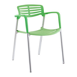 Modway - Modway EEI-236 Fleet Stacking Chair in Green - Bring versatility to your meetings and events with a sturdy chair that fits all occasions. The Fleet stacking chair is made of stainless steel with a fashionable hard plastic seat and arm covering. The design is sleek and compact while providing the seating room necessary to accommodate your guests comfortably. Fleet stacks for easy storage.