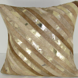 Design Accents - Beige and Gold Leather and Velvet 20 x 20 Decorative Pillow - - Trendy and stylish leather pillow.  - Cover Material: Velvet pillow cover  - Fill Material : Down feather insert  - Cleaning/Care: Dry Clean Only  - Fabric Material: Velvet Design Accents - SGC 106 Diagonal Stripe 20x20 Beige Gold