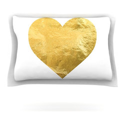 """Kess InHouse - KESS Original """"Heart of Gold"""" Metallic Pillow Sham (Cotton, 40"""" x 20"""") - Pairing your already chic duvet cover with playful pillow shams is the perfect way to tie your bedroom together. There are endless possibilities to feed your artistic palette with these imaginative pillow shams. It will looks so elegant you won't want ruin the masterpiece you have created when you go to bed. Not only are these pillow shams nice to look at they are also made from a high quality cotton blend. They are so soft that they will elevate your sleep up to level that is beyond Cloud 9. We always print our goods with the highest quality printing process in order to maintain the integrity of the art that you are adeptly displaying. This means that you won't have to worry about your art fading or your sham loosing it's freshness."""