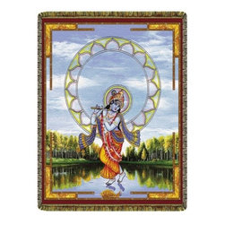 Circles of Light Imports LLC - Krishna Walks on Water Tapestry Thrown Blanket, Full Color Tapestry Throw Blanke - Krishna Walks on Water Tapestry Thrown Blanket
