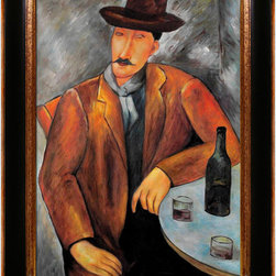 "overstockArt.com - Modigliani - Seated Man - 24"" X 36"" Oil Painting On Canvas Hand painted oil reproduction of a famous Modigliani painting, Seated Man. The original masterpiece was created in 1918. Today it has been carefully recreated detail-by-detail, color-by-color to near perfection. Why settle for a print when you can add sophistication to your rooms with a beautiful fine gallery reproduction oil painting? Amedeo Clemente Modigliani (1884 - 1920) was an Italian painter and sculptor who worked mainly in France. Primarily a figurative artist, he became known for paintings and sculptures in a modern style, characterized by mask-like faces and elongation of form. The bohemian painter's works form a bridge between the generation of Toulouse-Lautrec and the Art Deco painters of the 1920s. The classically simple, flat forms, elongated proportions and delicate stylization combine influences from African sculpture to Botticelli style. Why not grace your home with this reproduced masterpiece? It is sure to bring many admirers!"