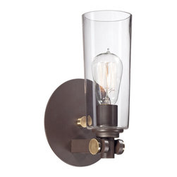 Quoizel - Quoizel Western Bronze Sconces - SKU: UPEV8701WT - A vintage, casual, young yet retro look for the new illuminati. It features clear glass shades that enhance the Western Bronze finish and gold accents.