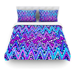 """Kess InHouse - Nika Martinez """"Blue Electric Chevron"""" Cotton Duvet Cover (Twin, 68"""" x 88"""") - Rest in comfort among this artistically inclined cotton blend duvet cover. This duvet cover is as light as a feather! You will be sure to be the envy of all of your guests with this aesthetically pleasing duvet. We highly recommend washing this as many times as you like as this material will not fade or lose comfort. Cotton blended, this duvet cover is not only beautiful and artistic but can be used year round with a duvet insert! Add our cotton shams to make your bed complete and looking stylish and artistic! Pillowcases not included."""