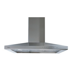 """36"""" cooktop wall hood - Behind the sculpted lines of Wolf ventilation units, there's a lot of hard-nosed functional thinking, such as bright halogen lighting with multiple settings to illuminate the cooking surface and powerful multispeed blowers."""