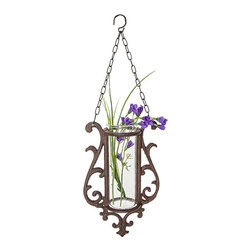 Designs Combined Inc. - Rust Floral Large Hanging Planter - Vintage elegance is at hand with this timeless planter. Whether it was found here or an intimate European antique shop, no one will ever have to know.   Includes planter and glass insert 6.5'' W x 19'' H x 3'' D Cast iron Spot clean Imported