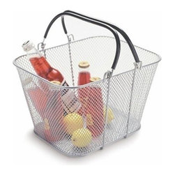 Design Ideas - Mesh Handled Shopping Basket, Silver - Our silver Mesh Handled Shopping Basket from Design Ideas is a great way to store and carry cleaning supplies room to room, keep things organized under the kitchen sink, or add decor to your home. Place one in the mudroom to store extra flip flops in the summer or slippers for guests in the winter.