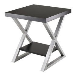 Winsome Wood - Korsa End Table, Black - Our Korsa Table Collection adds a special look to your living room. This End Table comes with veneer top in black and X-shape metal legs in metallique gray finish.