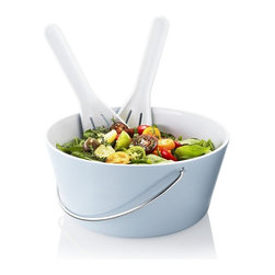 Eva Solo - Eva Solo Salad Bowl Set with Servers, Light Blue - This is a white melamine bowl with salad set.
