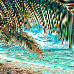 Douglas Page Photographic Arts - Pupukea Beach Palms - Canvas Giclee - This fine art digitally painted photograph on canvas, by photographic artist Douglas Page, gives an impressionist vision of a tropical island paradise..
