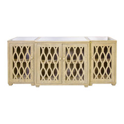Worlds Away - Worlds Away Big Sur Limed Oak 3 Piece Media Console - With a nod to Moroccan decor, Big Sur's fretwork doors add global flair to the console's simple, traditional lines. The open woodwork of this three-piece unit by Worlds Away allows for easy access to media components, making it a decorative and practical addition to a living room. Wood with limed oak finish. Beveled mirror top. 4 doors. Interior shelf.