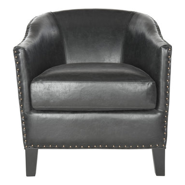 Safavieh - Evander Club Chair - A transitional update of the classic tub chair, the antique black Evander club chair is brimming with sophistication-and curves. Artfully upholstered in PU leather, this comfortable chair is detailed with brass nailhead trim and black birch legs. The Evander chair is perfect in a living room, family room, home office or masculine bedroom suite. Rounded back and rolled arms make this Evander club chair by Safavieh an instant classic. Sitting on squared black legs with with silver nail-head trim, this understated but elegant chair is upholstered in black faux-leather. This transitional club chair is a perfect fit for any decorating style.