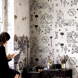 Random Geometry Wallpaper - It almost looks like your math book doodles. I love this in a child's room or powder room.
