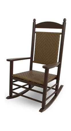 Polywood - Eco-friendly 34 in. Woven Rocker in Tigerwood - This rocker is enhanced with unique detailing that gives it both warmth and sophistication. It wont splinter, crack, chip, peel or rot and it never needs to be painted, stained or waterproofed. Polywood lumber requires no painting, staining, waterproofing, or similar maintenance. It is resistant to corrosive substances, insects, fungi, salt spray and other environmental stresses.